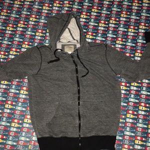 Hoodie zip up black & grey measured casual wear